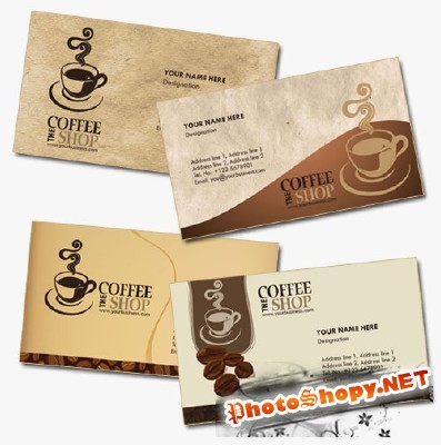 Coffee Shop Business Cards Psd for Photoshop