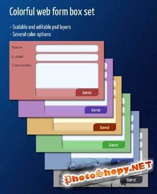 Colorful Web Form Box Set for Photoshop