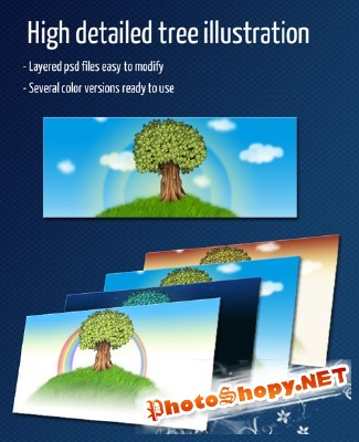 High Detailed Tree Illustration for Photoshop