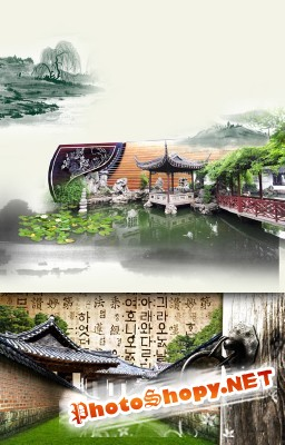 Chinese architecture of the buildings Psd for Photoshop