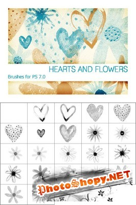 Hearts And Flowers Brushes Set for Photoshop