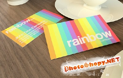 Rainbow Business Card Template for Photoshop