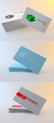 Red, Blue and 3D Business Cards For Photoshop