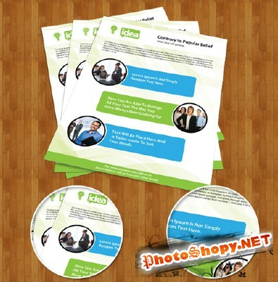Corporate Single Side Brochure PSD Template for Photoshop
