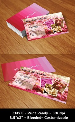 Flowery Business Cards for Photoshop