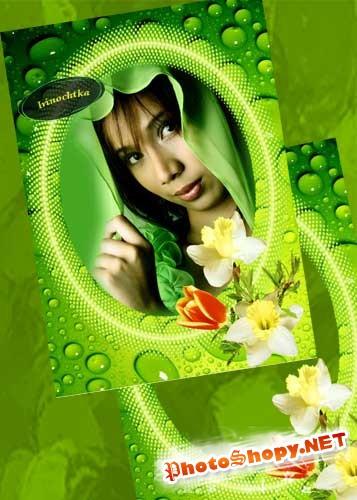 Зелёная весенняя рамочка.
