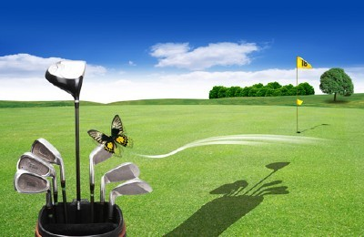 A large green field for the game of golf psd for Photoshop