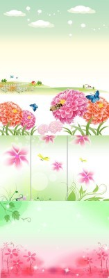 Spring pink flowers psd for Photoshop