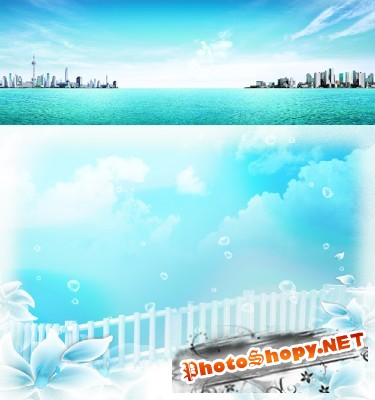 The blue sea and a blue spring sky psd for Photoshop