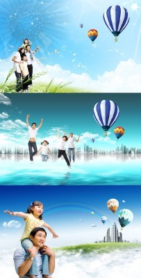 Large striped balloons in the sky psd for Photoshop