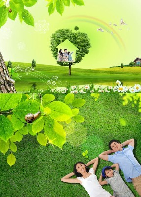 Beautiful green spring field psd for Photoshop