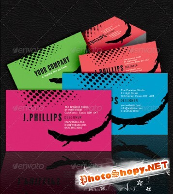 Bright Business Cards for Photoshop