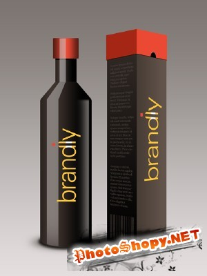 Realistic Wine Bottle and Box PSD for Photoshop