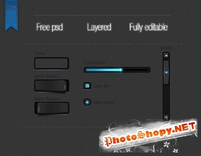 Carbon style GUI set for Photoshop