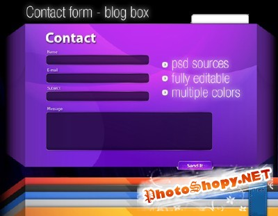 Stylish contact form in PSD For Photoshop