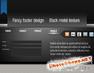 Black footer and metal texture for Photoshop