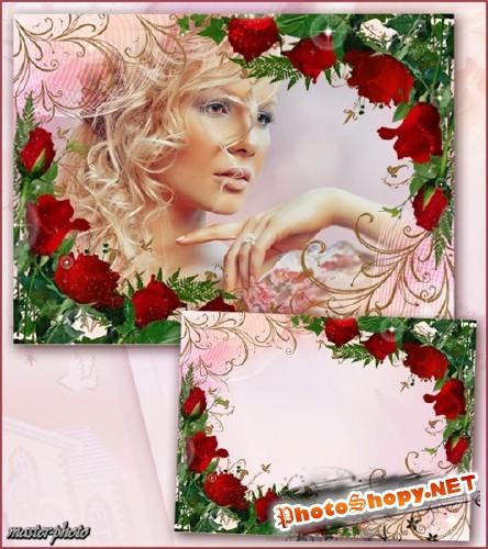 Цветочная рамка для фотошопа – Нежное прикосновение роз