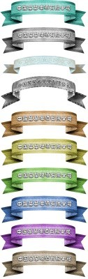 Collection of colored ribbons Psd for Photoshop