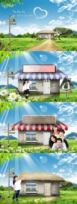 A small house and shop in the village psd for Photoshop