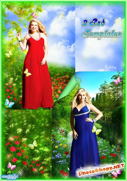 Многослойный женский psd шаблон - Девушки с пышными формами в чудесных вечерних платьях