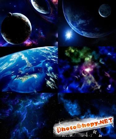Темно синие обои космос 1280х1024
