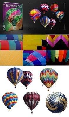 Hot Air Balloon Pack Textures, Images, Vectors and Photoshop Brushes