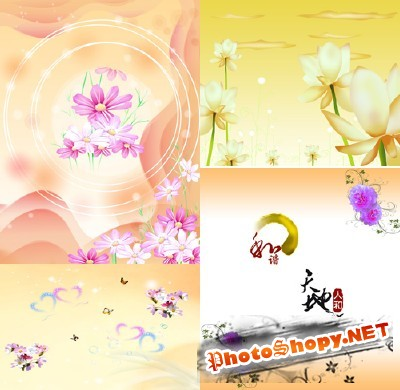 Sources For Photoshop - Gentle spring flower backgrounds