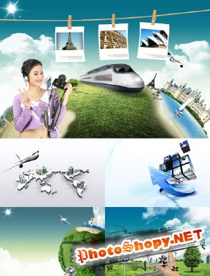 Collection Psd of bright travel