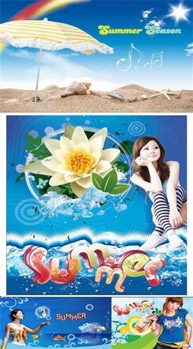 Девчонки и лето (многослойные PSD)