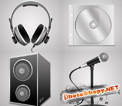 Cd, Headphone and microphone Music Psd Files