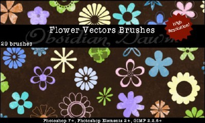 Flower Vectors Brushes Set