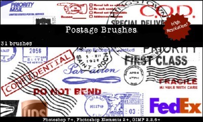 Postage Photoshop Brushes Set