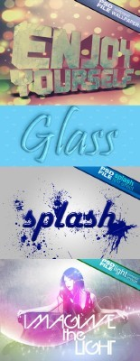 Glass Text, Psd Splash Text Effect and Psd Light Concept