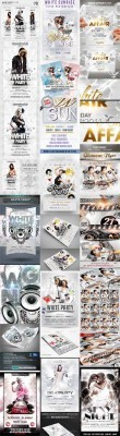 10 White Glamour Flyer/Poster Template Bundle v.1