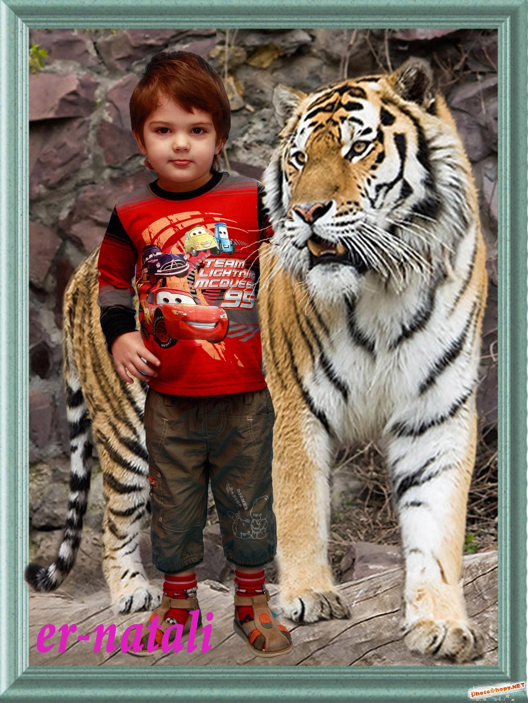 Женщины тигры фотошопа 4