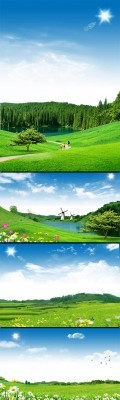 Spring Green Landscapes of Nature PSD