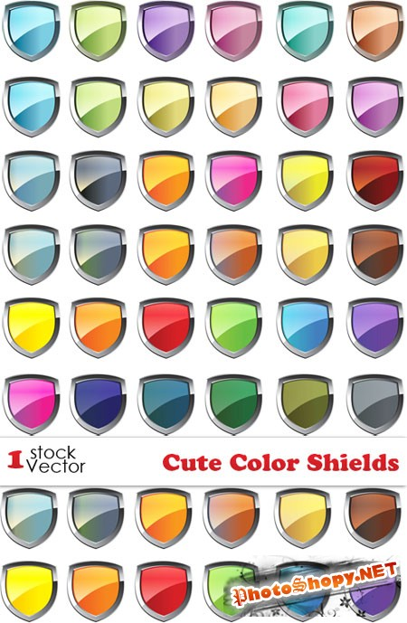 Cute Color Shields Vector