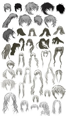 Anime hairs brushes