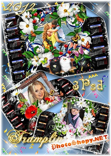 Красивые календари – рамки с цветами на 2012 год