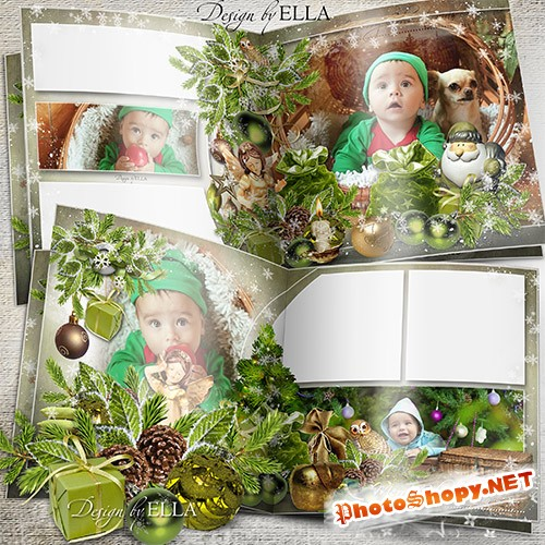 Шаблон рождественской фотокниги-Зеленое Рождество