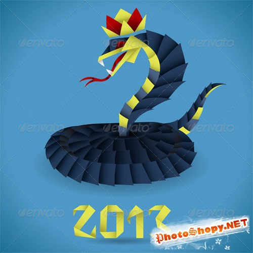GraphicRiver - Paper Origami Snake with 2013 Year 2951959
