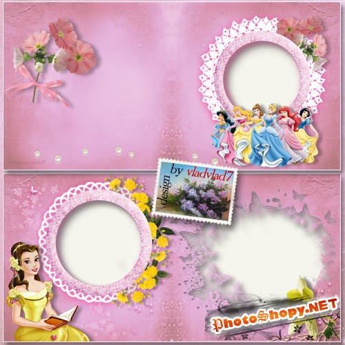 Детская фотокнига с диснеевскими принцессами и цветами