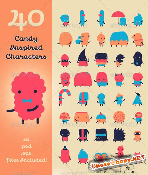GraphicRiver - 40 Candy Inspired Characters 409294