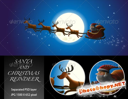 GraphicRiver - Santa and Christmas Reindeer 144508