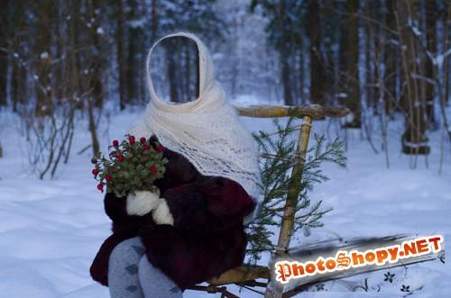 Шаблон для фотомонтажа - девочка зимой
