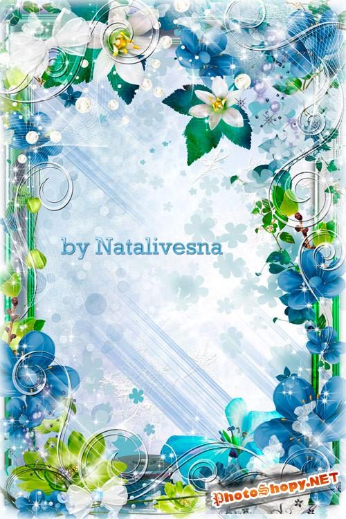 Цветочная рамочка -  Весенние цветочки, зеленые листочки