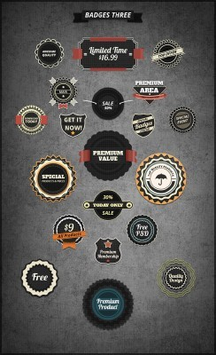 Retro Bages Black PSD Templates volume three