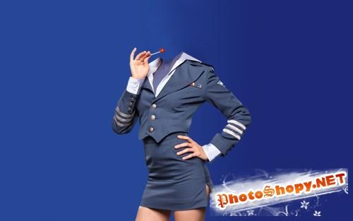 Шаблон для девушек - Девушка в красивой униформе