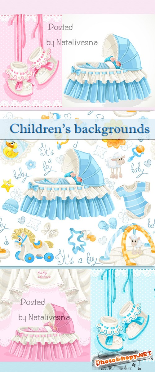Детские фоны с пинетками / Children's backgrounds with bootees - Stock photo