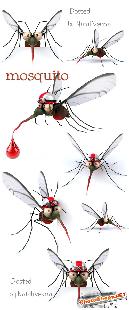 3D Комарики на белом фоне / 3D Mosquito - Stock photo